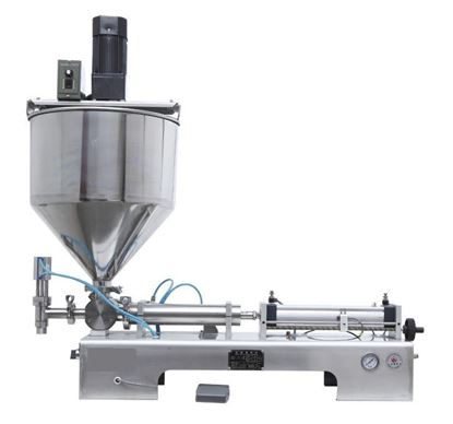 Picture of chilly sauce  filling machine with mixer hopper