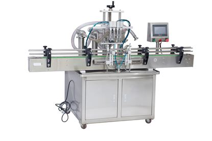 Picture of 4 heads Automatic liquid filling machine with conveyor PLC control by sea