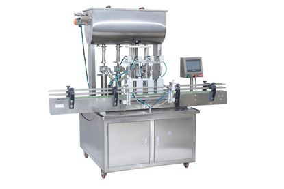 Picture of 4 heads Automatic paste filling machine with conveyor PLC control by sea
