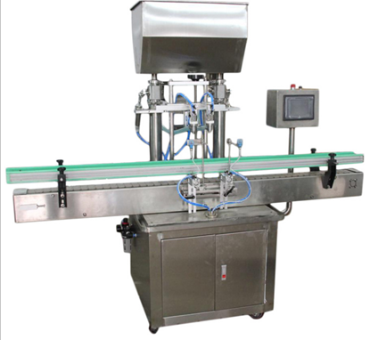 Picture of 2 heads Automatic paste filling machine with conveyor PLC control by sea