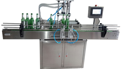 Picture of 2 heads Automatic liquid filling machine with conveyor PLC control by sea