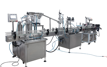 Picture of automatic  filling machine , capping  machine and labeling machine